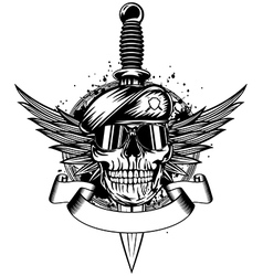 Skull in beret wings and dagger vector image vector image