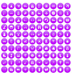 100 toys for kids icons set purple vector image vector image