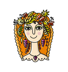 autumn girl sketch for your design vector image