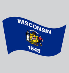 flag of wisconsin waving on gray background vector image vector image