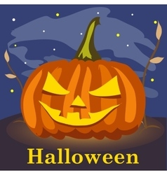 Grinning pumpkin on a background the starry sky vector image vector image