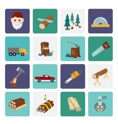 Lumberjack icon set flat vector image vector image