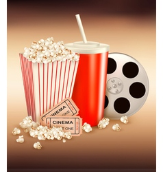 popcorn box and cola and two tickets vector image
