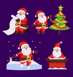 santa clauses set icons snow chimney tree vector image vector image