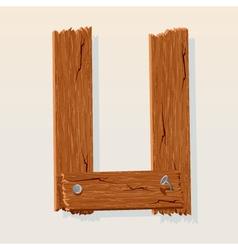 wooden letter u vector image vector image
