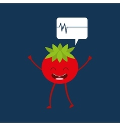 character tomato healthy heartrate icon vector image