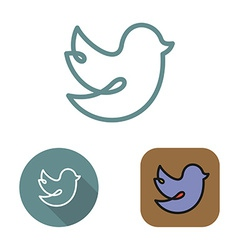 Contour social network bird icon and stickers set vector image vector image