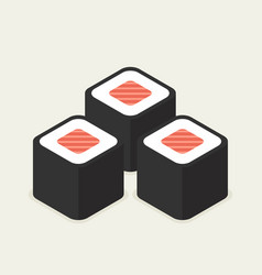 Food -set of sushi roll with nori modern 3d flat vector