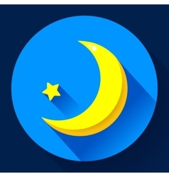 Moon and stars at night - icon Flat design vector image