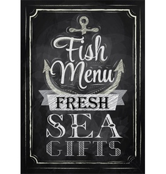 Poster Fish menu fresh sea gifts chalk vector image vector image
