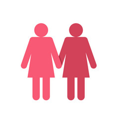 Two girls lesbians icon flat style vector