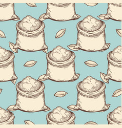 vintage wheat flour bags seamless pattern vector image