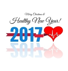 Congratulations to the healthy new year with a vector image