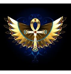 Gold Ankh with Wings vector image