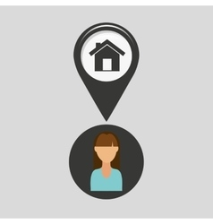 House pointer map girl design icon vector