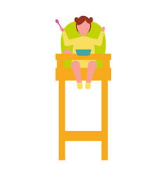 infant child sit in high chair with spoon in hand vector image vector image