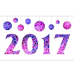 Inscription 2017 with mosaic balls vector image vector image