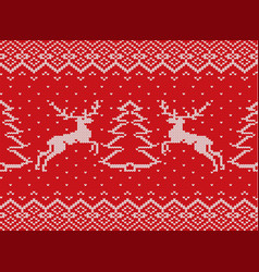 knitted christmas texture with deers christmas vector image vector image