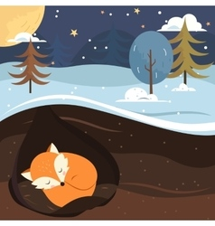 Let it snow Fox sleeping in the hole vector image