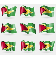 Set of Guyana flags in the air vector image