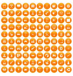 100 lorry icons set orange vector