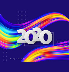 2020 new year sign on abstract liquid background vector image