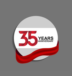 35 years anniversary design in circle red ribbon vector