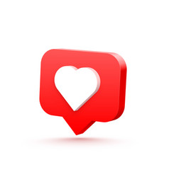 3d heart like social network white background vector image