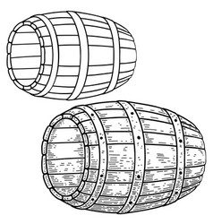 A barrel keg in engraving style design element vector