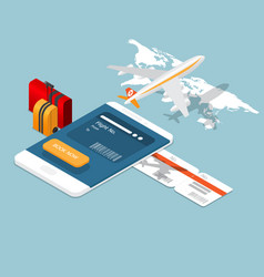 airplane ticket online booking on smartphone vector image