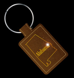Alabama leather key fob vector