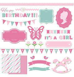 Birthday and girl baby shower design elements vector