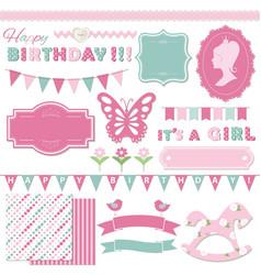 Birthday and girl bashower design elements vector