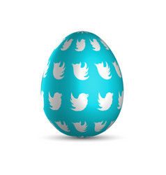 blue easter egg with white birds and light shadow vector image