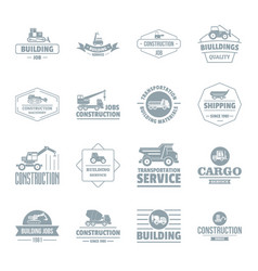 building vehicles logo icons set simple style vector image