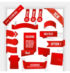 Bundle of red web elements corner and ribbon vector