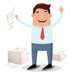 Businessman with paper piles vector