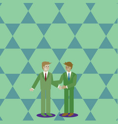 Businessmen smiling standing and handshaking two vector