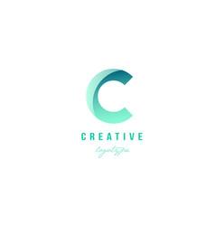 C green pastel gradient alphabet letter logo icon vector
