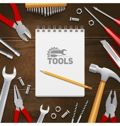 Carpenter Construction Tools Flat Composition vector