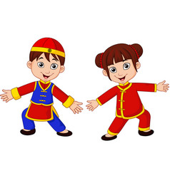 Cartoon chinese kids with traditional costume vector