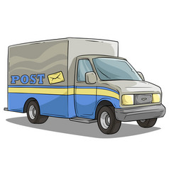 cartoon post delivery transportation cargo truck vector image