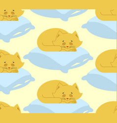 cat sleeps on pillow seamless pattern sleeping vector image