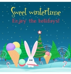 Christmas card background rabbit with ice cream vector