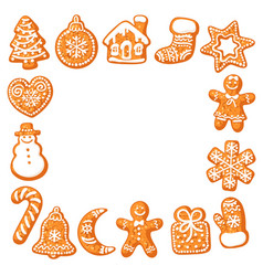christmas gingerbread cookies square frame hand vector image