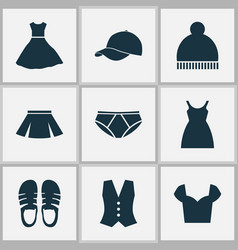 Clothes icons set with pompom pants sandal vector