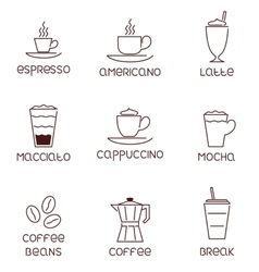 Collection of linear coffee icons with vector image