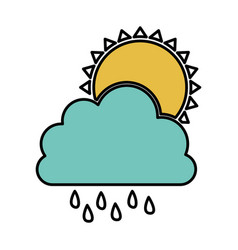 Color cloud rainning with sun icon vector