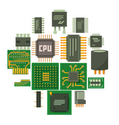 Computer chips icons set cartoon style vector