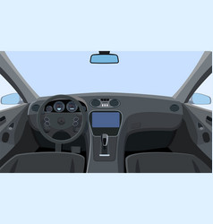 Control panel and windscreen view from front seats vector